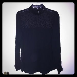 Lace and sheer high neck long sleeve top